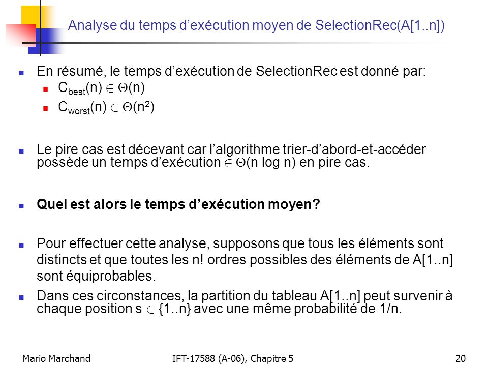 Analyse du temps d'exécution moyen de SelectionRec(A[1..n])